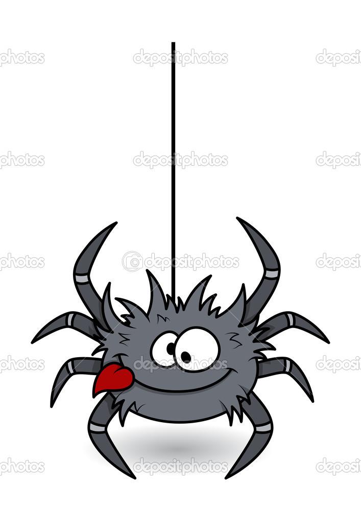 Смешной рисунок паука, открытка днем