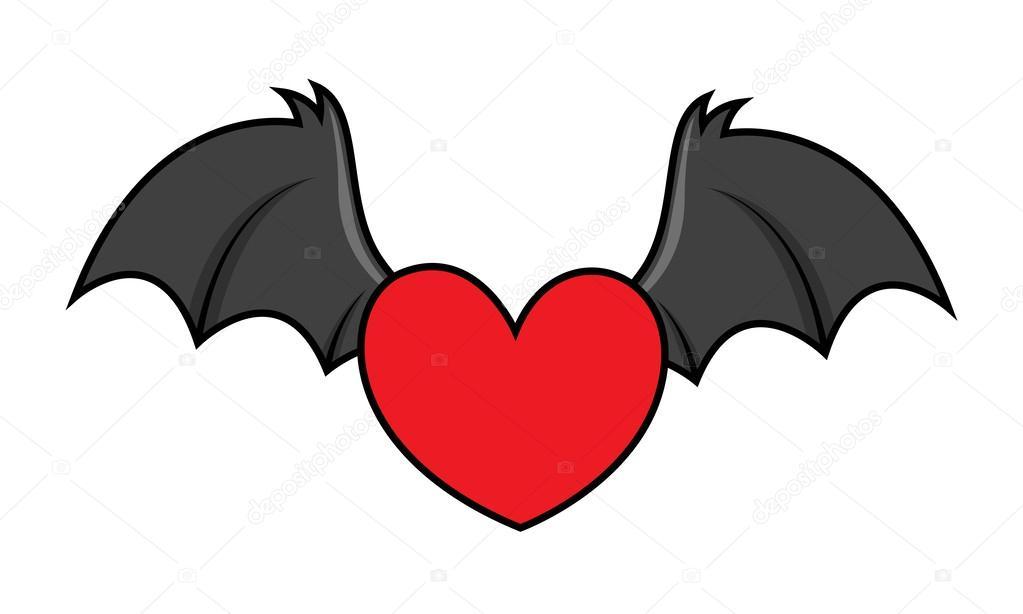Vol mal coeur avec des ailes de chauve souris - Dessin de coeur avec des ailes ...