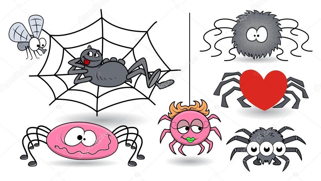 Imágenes: arañas animadas halloween | conjunto de arañas de vector ...