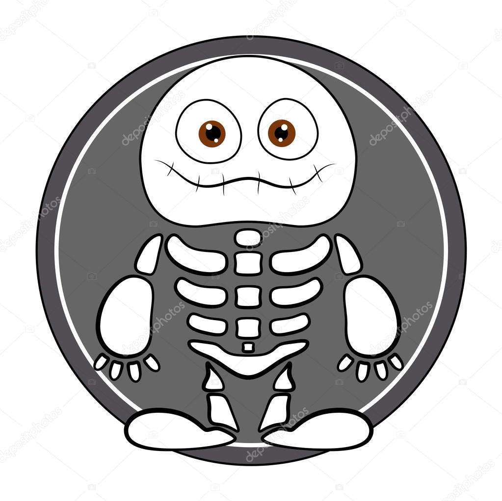 Funny skeleton ghost - halloween vector illustration — Stock