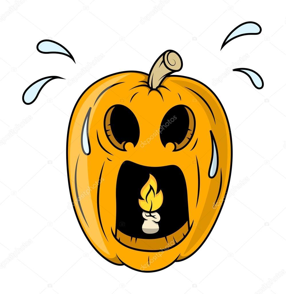 frightened jack o u0027 lantern with burning candle inside halloween