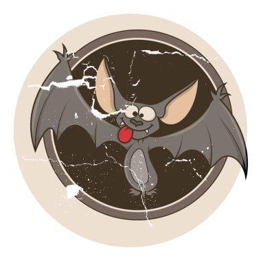 Vintage grunge bat sticker vector