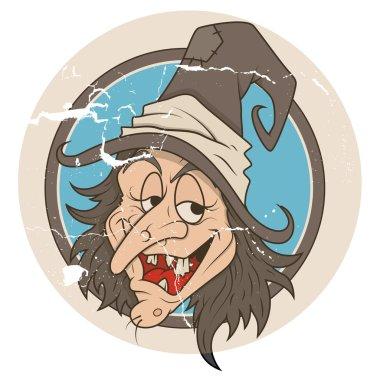 Vintage cartoon witch vector