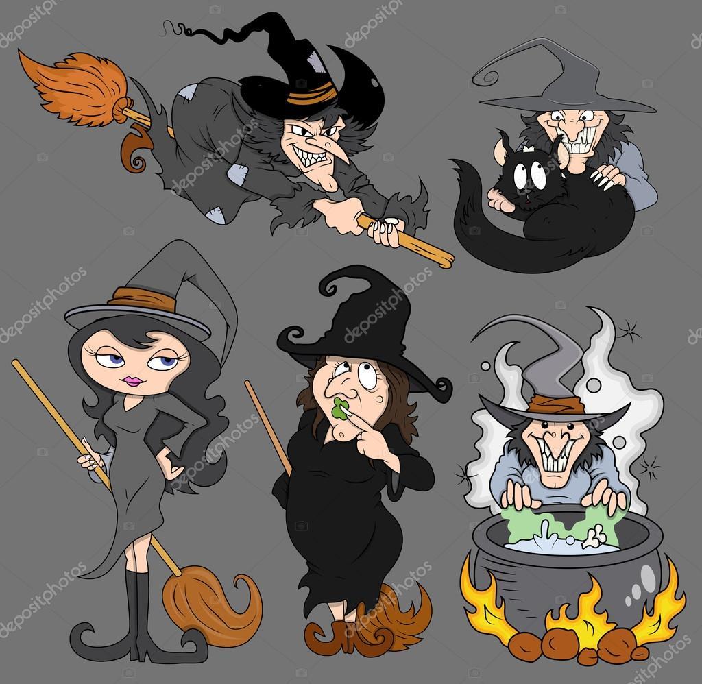 halloween spooky evil witch vector set u2014 stock vector baavli