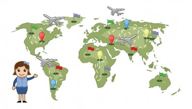 Cartoon Girl Showing Different Places on World Map Vector