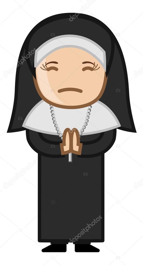 Vettore disegno della suora suora che prega al dio cartone