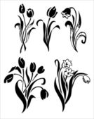 tulipány silueta