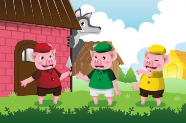 Wolf and three little pigs
