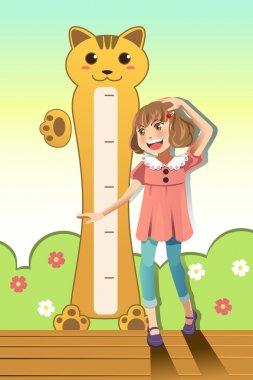 A vector illustration of a girl measuring her height with height scale on the wall clip art vector