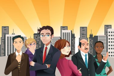 A vector illustration of group of confident business with city buildings in the background clip art vector