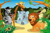 Africká zvířata v džungli