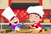 Fotografie Kinder machen Pizza in der Küche