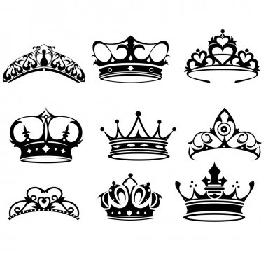 A vector illustration of crown icon sets stock vector
