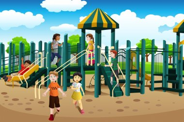 Multi-ethnic kids playing in the playground