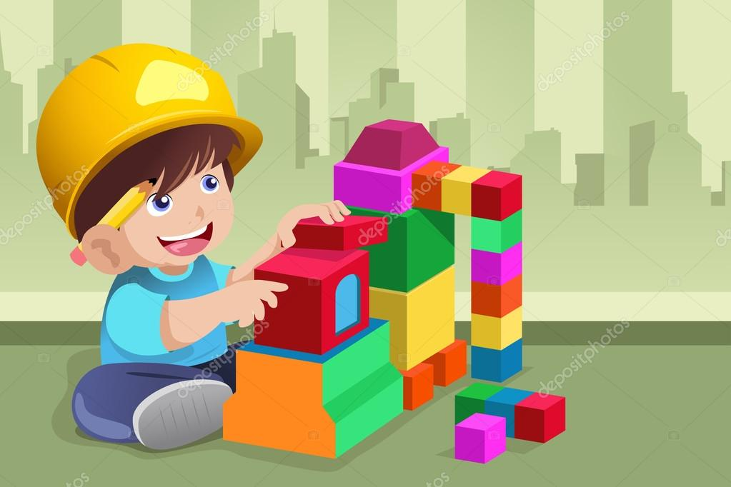 Kid Playing With His Toys Stock Vector C Artisticco 30316689
