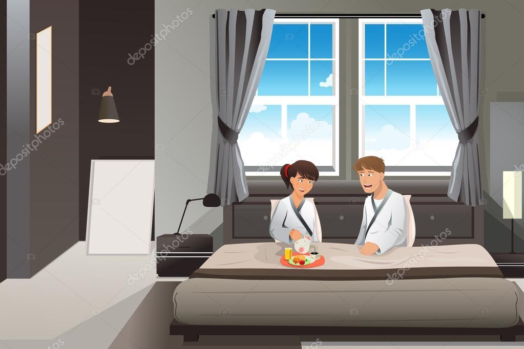 Paar Im Bett Fruhstucken Stockvektor C Artisticco 30678881