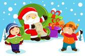 Santa Claus vorhanden Taschen tragen und halten eine Namensliste mit k