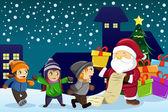 Santa Claus Durchführung anwesend und hielt eine Namensliste mit Kindern eine