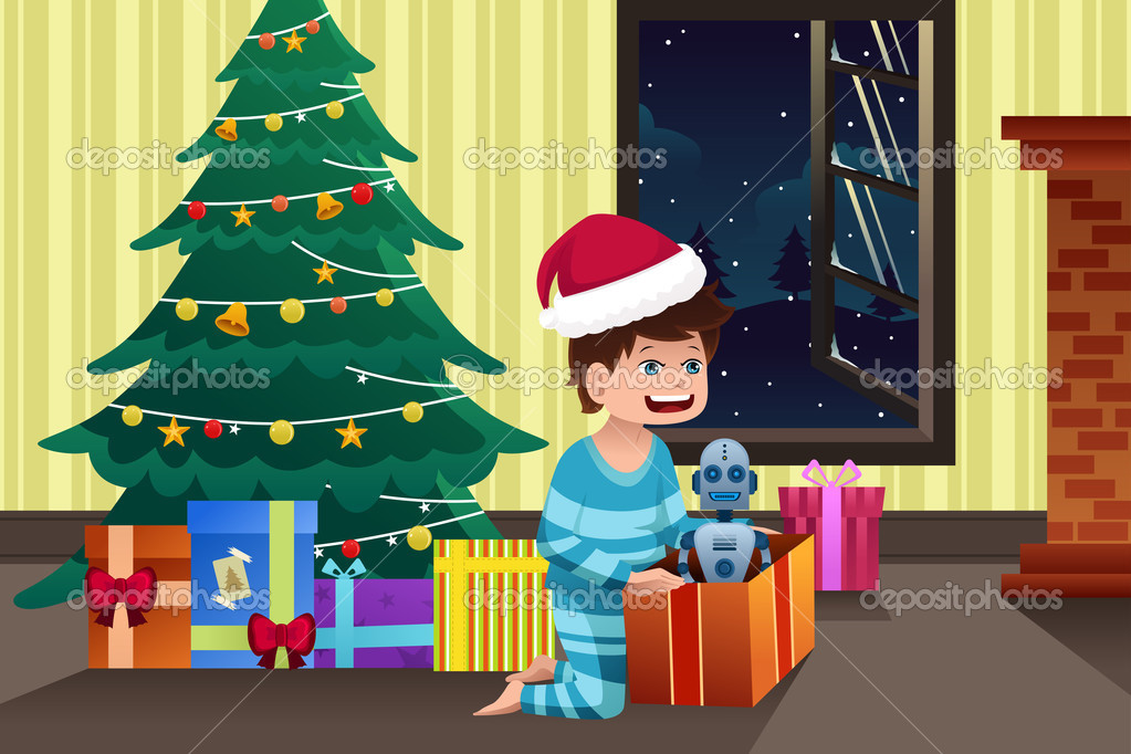 Niño Abriendo Un Regalo Dibujos Para Pintar: Niño Abriendo Un Regalo Bajo El árbol De Navidad