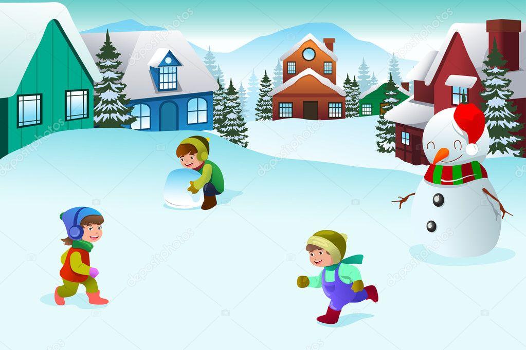 Зимние картинки дети играют во дворе, прикольные картинки открытки