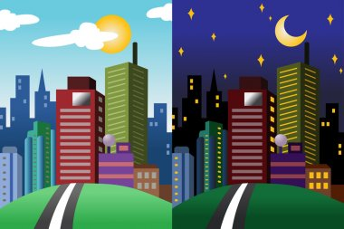 A vector illustration of day and night view of a modern city stock vector