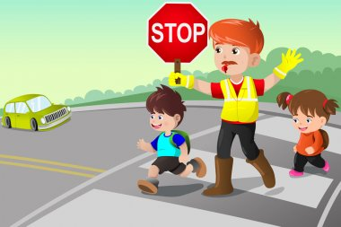 Flagger and kids crossing the street