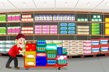 A vector illustration of man shopping in a big box store stock vector