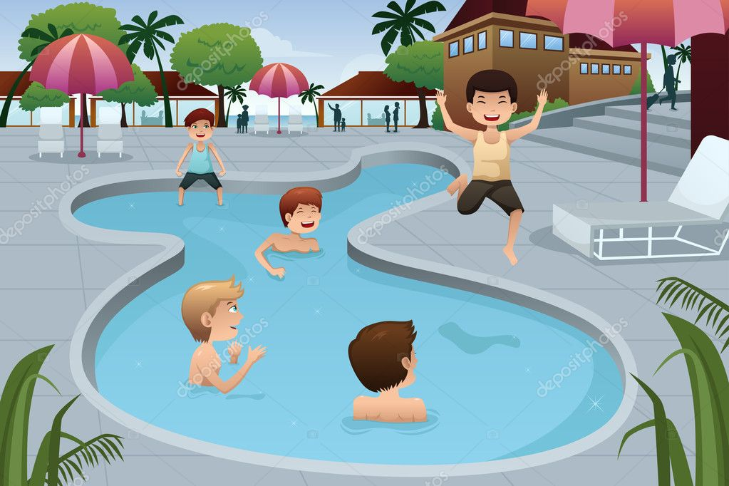 Ni os jugando en una piscina al aire libre archivo for Imagenes en piscina