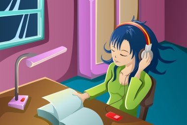 Girl reading a book while listening to music