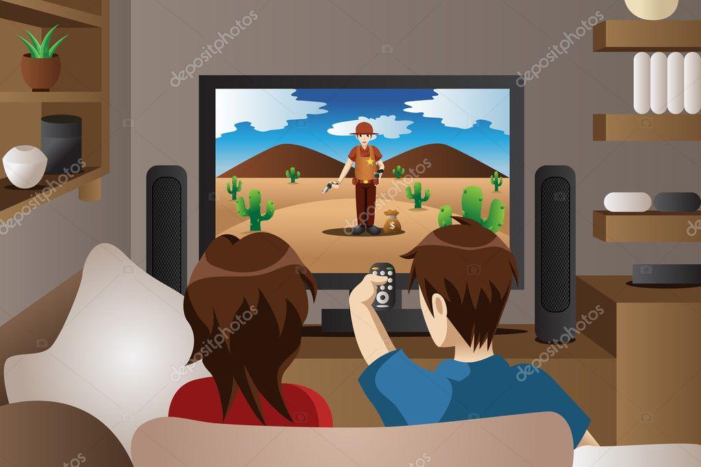 Pareja viendo la televisi n en casa vector de stock - Television en casa ...