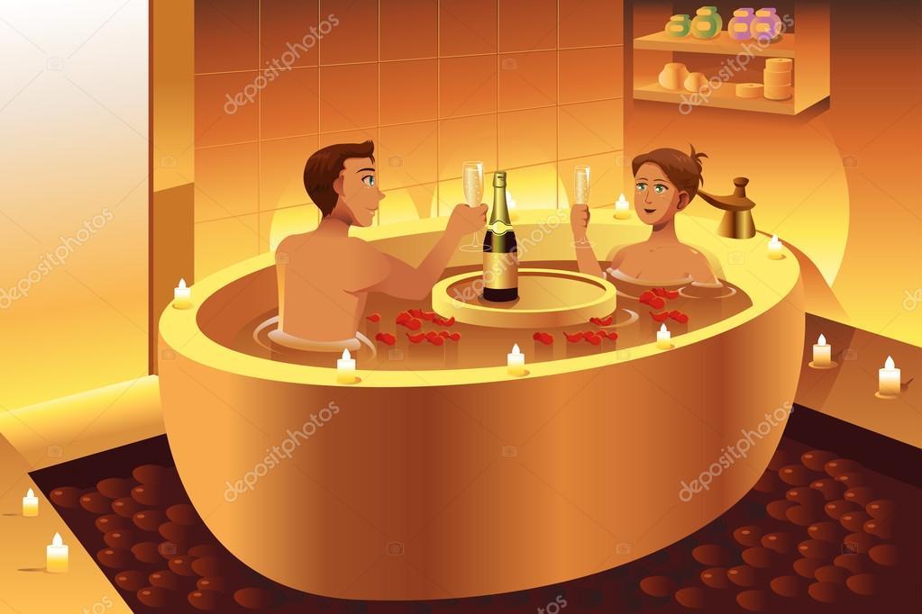 Pareja disfrutando de un ba o rom ntico archivo im genes for Ideas para un bano romantico