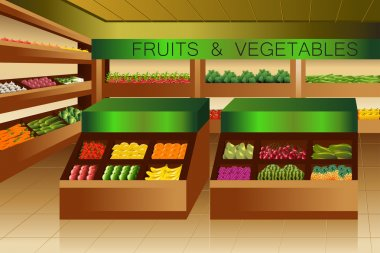 Grocery store: fruits and vegetables section