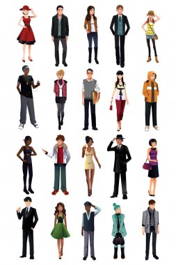 A vector illustration of stylish young people from different ethnicity stock vector