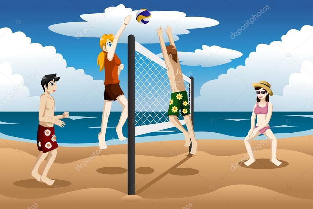 gente jugando al voleibol de playa vector de stock beach volleyball clipart png Volleyball Clip Art