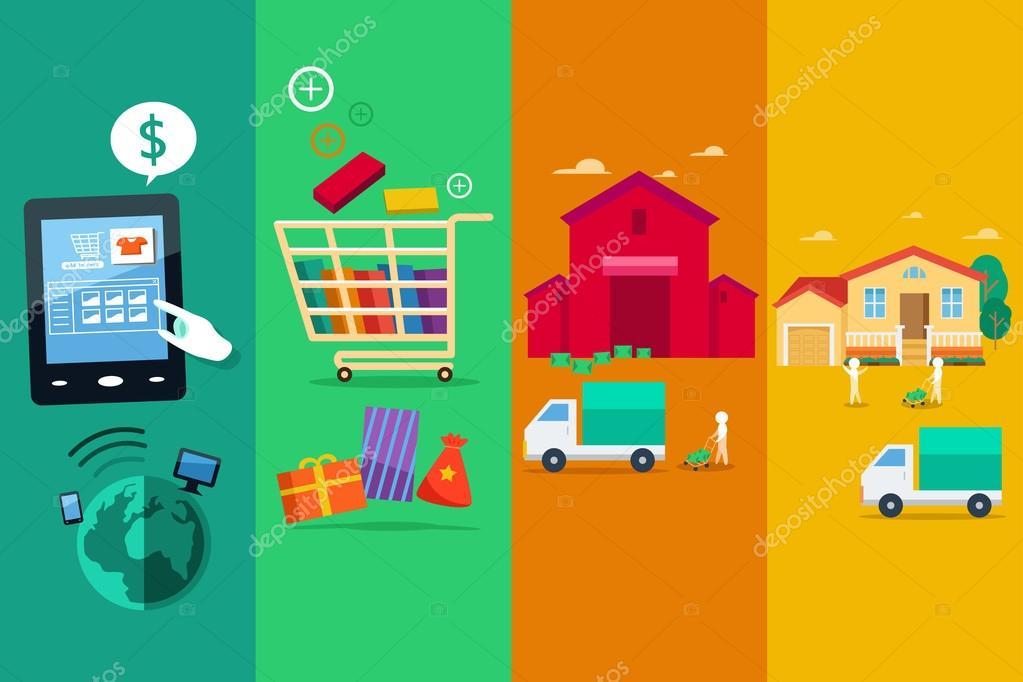 429573cef Uma ilustração do vetor do processo da online internet compra — Vetor de  artisticco