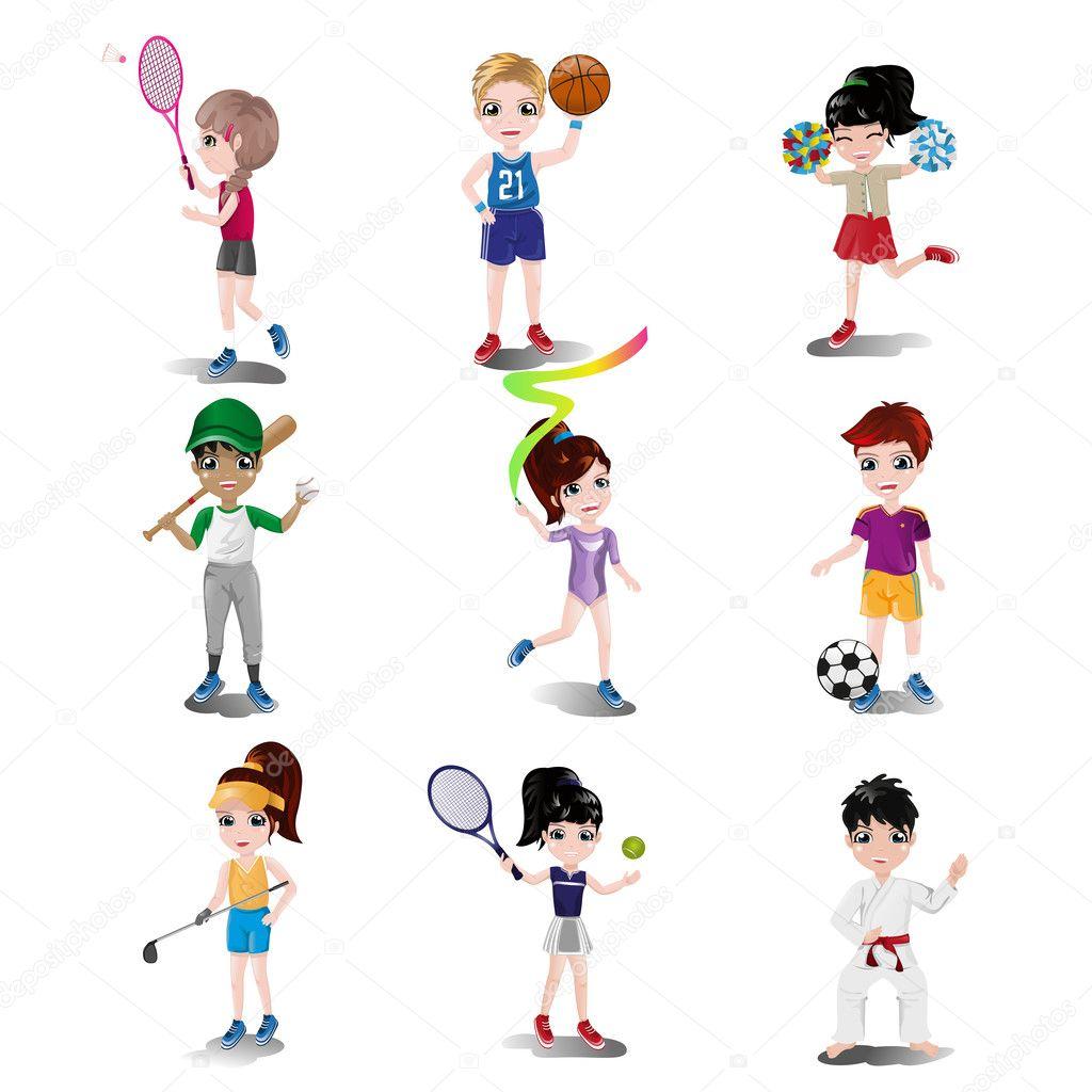 kinder trainieren und spielen verschiedene sportarten stockvektor artisticco 45346591. Black Bedroom Furniture Sets. Home Design Ideas