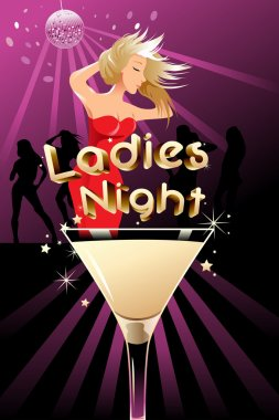 A vector illustration of ladies night poster with copyspace clip art vector