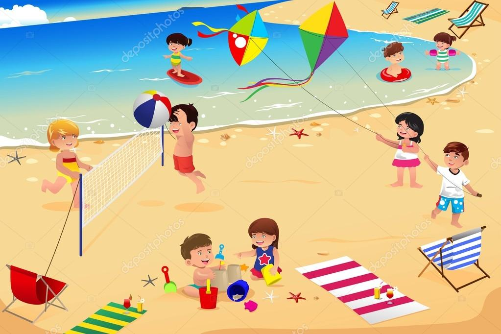 Clipart: kids at the beach | Kids on the beach — Stock ...
