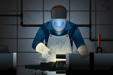 Welder working on a machine
