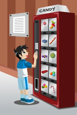 Kid buying candy from a vending machine