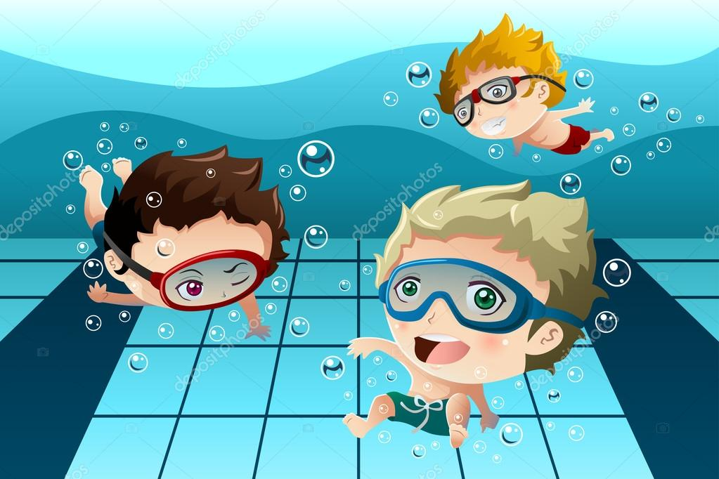 swimming pool vector. A Vector Illustration Of Happy Kids Having Fun In The Swimming Pool \u2014 By Artisticco P