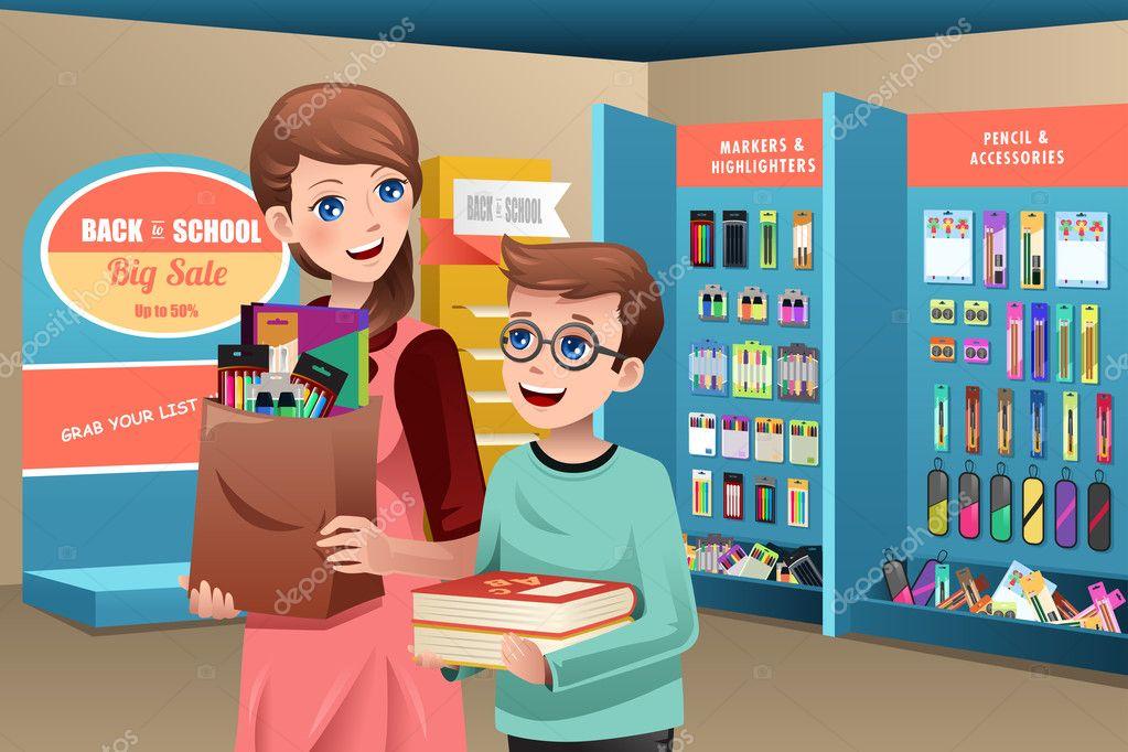 Libro Para Colorear Madre Hija Ilustraciones Vectoriales Clip: Madre E Hijo Comprar útiles Escolares