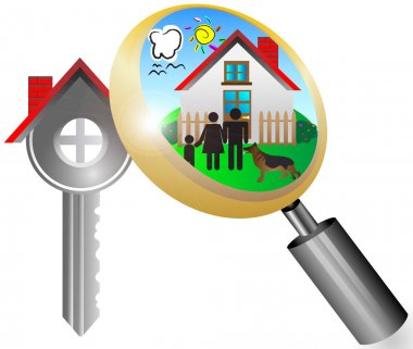 Real estate business concept with magnifying glass key house and dream house vector illustration