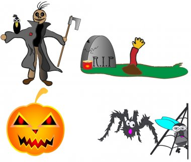 Halloween pumpkin scarecrow grave spider vector illustration funny hand