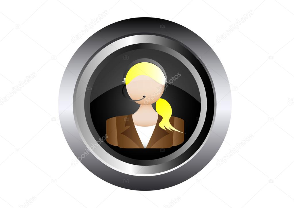 Female call center woman telephone operator vector illustration in black button