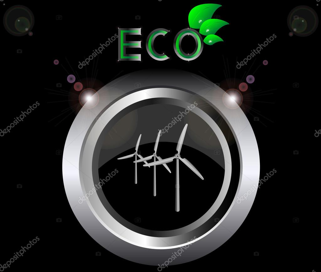 Eco ecology logo green leaf wind generator turbine vector illustration on black button background