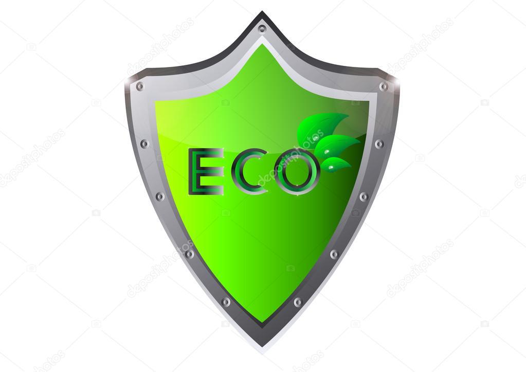 Eco ecology logo green leaf vector illustration on on metal shield