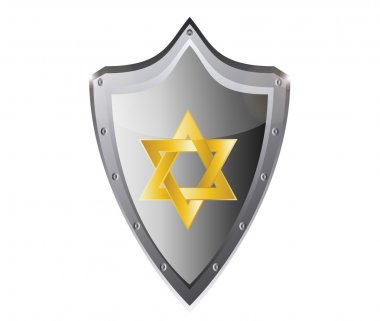 Hebrew Jewish Star of magen david in black metal button vector illustration