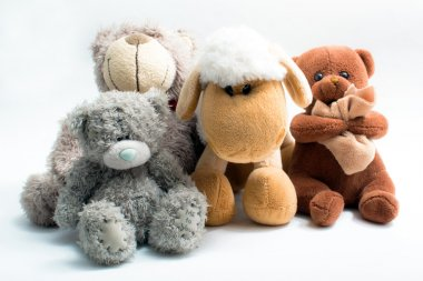 Stuffed animal toys isolated on white stock vector