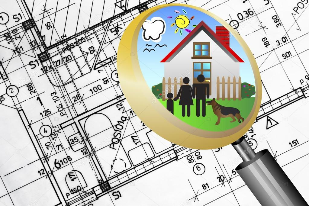 Architectural plan blueprint real estate business concept with architectural plan blueprint real estate business concept with magnifying glass lens happy family and dream house photo by vician malvernweather Image collections
